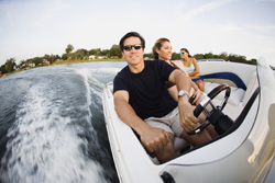 Trio on speedboat