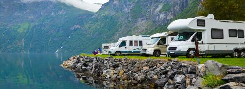 RV at water's edge